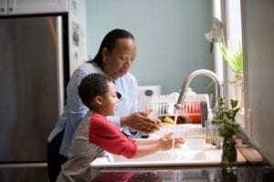 Family Washing Hands at home
