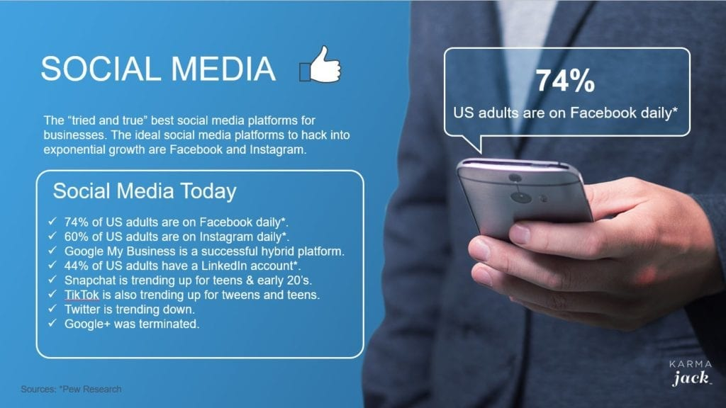 """With so many social media apps, it can be frustrating to not know what is best for your company. We will focus on the """"tried and true"""" best social media platforms for businesses. The ideal social media platforms to hack into exponential growth are Facebook and Instagram."""