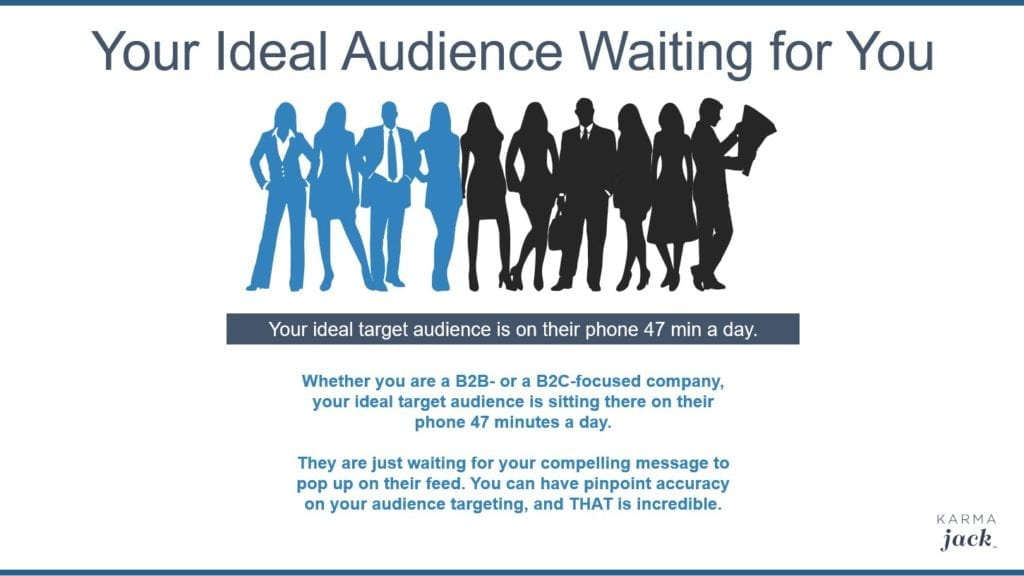 Whether you are a B2B- or a B2C-focused company, your ideal target audience is sitting there on their phone 47 minutes a day. They are just waiting for your compelling message to pop up on their feed. You can have pinpoint accuracy on your audience targeting, and THAT is incredible.